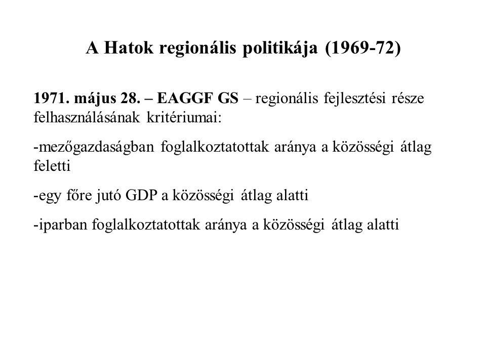 A Hatok regionális politikája (1969-72) 1971. május 28. – EAGGF GS – regionális fejlesztési része felhasználásának kritériumai: -mezőgazdaságban fogla