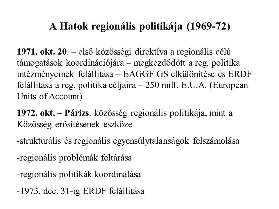 A Hatok regionális politikája (1969-72) 1971. okt. 20. – első közösségi direktíva a regionális célú támogatások koordinációjára – megkezdődött a reg.