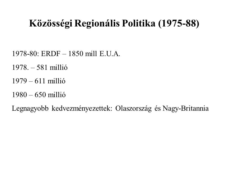 Közösségi Regionális Politika (1975-88) 1978-80: ERDF – 1850 mill E.U.A. 1978. – 581 millió 1979 – 611 millió 1980 – 650 millió Legnagyobb kedvezménye