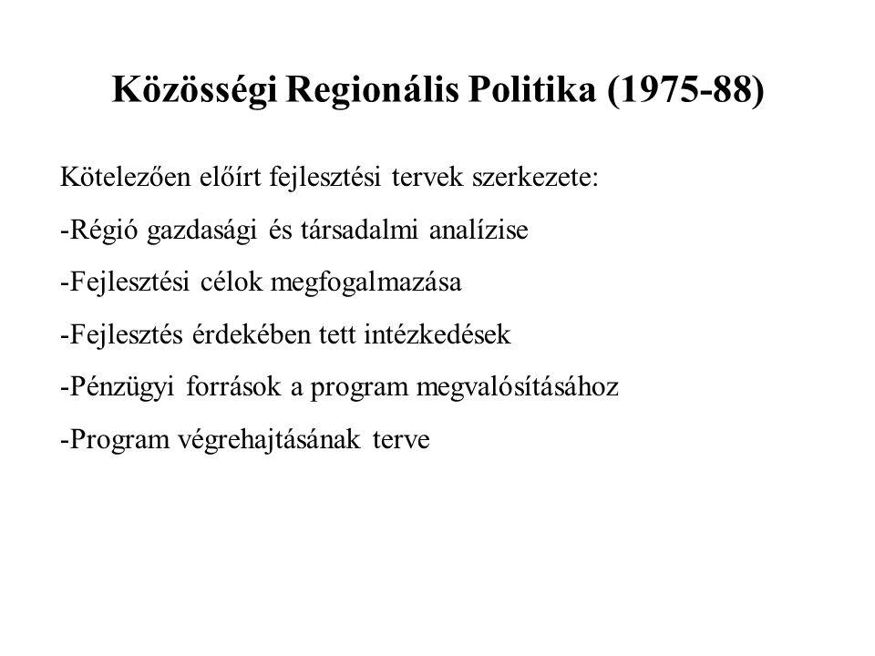 Közösségi Regionális Politika (1975-88) Kötelezően előírt fejlesztési tervek szerkezete: -Régió gazdasági és társadalmi analízise -Fejlesztési célok m
