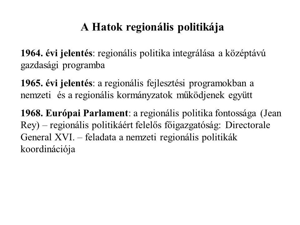 A Hatok regionális politikája 1964. évi jelentés: regionális politika integrálása a középtávú gazdasági programba 1965. évi jelentés: a regionális fej