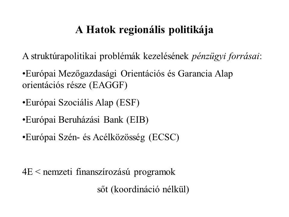 A Hatok regionális politikája A struktúrapolitikai problémák kezelésének pénzügyi forrásai: Európai Mezőgazdasági Orientációs és Garancia Alap orientá