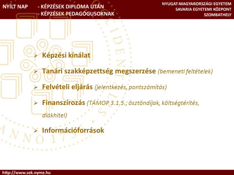 Felvételi eljárásrend (2) Jelentkezés  Betűkódok:  NYME-BTK  NYME-MNSK  NYME-TTMK  A Felvételi Tájékoztató megjelenése: 2009.