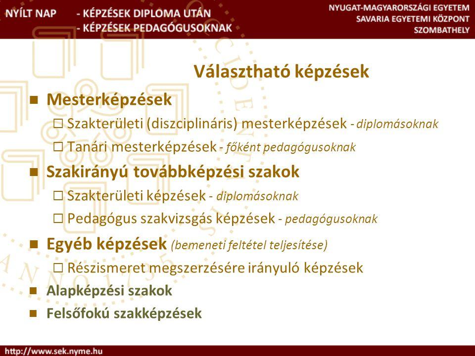 Választható képzések - diplomásoknak Mesterképzések Szakirányú továbbképzési szakok andragógia (NYME-MNSK)informatikus könyvtáros (NYME- BTK) esztétika (NYME-BTK)rekreáció (NYME-MNSK) geográfus (NYME-TTMK)szlavisztika (NYME-BTK) interkulturális kommunikáció és menedzsment (NYME-BTK) életmód tanácsadó és terapeuta (NYME- MNSK) * a magyar kultúra képviselete (NYME-BTK) munkahelyi egészségfejlesztés (NYME-MNSK)