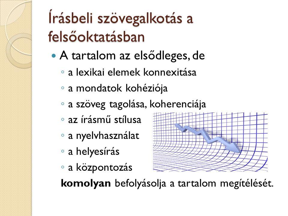 Írásbeli szövegalkotás a felsőoktatásban A tartalom az elsődleges, de ◦ a lexikai elemek konnexitása ◦ a mondatok kohéziója ◦ a szöveg tagolása, koher