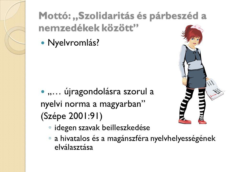 """Mottó: """"Szolidaritás és párbeszéd a nemzedékek között"""" Nyelvromlás? """"… újragondolásra szorul a nyelvi norma a magyarban"""" (Szépe 2001:91) ◦ idegen szav"""