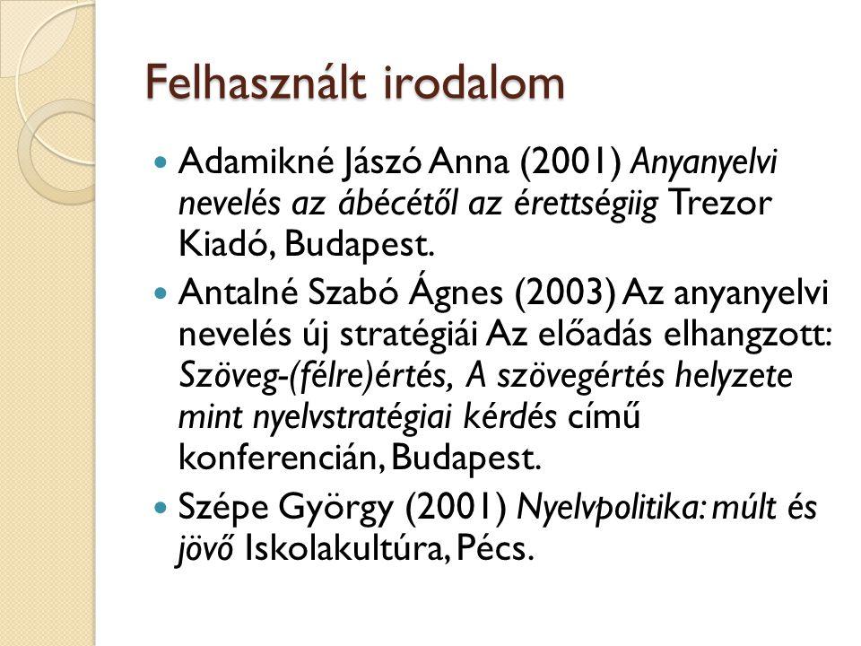 Felhasznált irodalom Adamikné Jászó Anna (2001) Anyanyelvi nevelés az ábécétől az érettségiig Trezor Kiadó, Budapest. Antalné Szabó Ágnes (2003) Az an