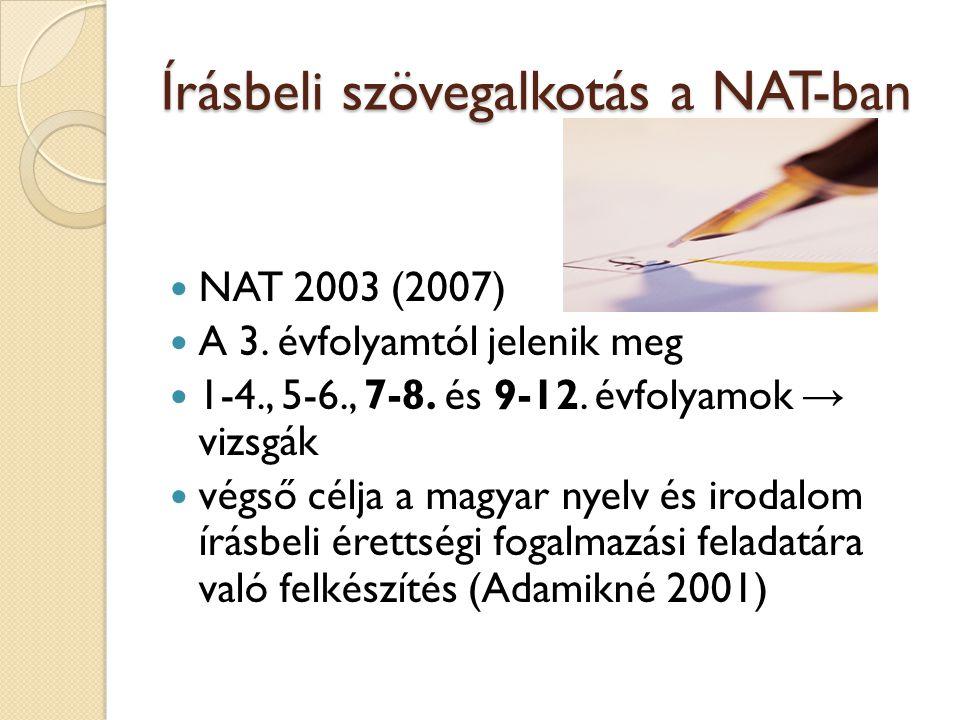 Írásbeli szövegalkotás a NAT-ban NAT 2003 (2007) A 3. évfolyamtól jelenik meg 1-4., 5-6., 7-8. és 9-12. évfolyamok → vizsgák végső célja a magyar nyel