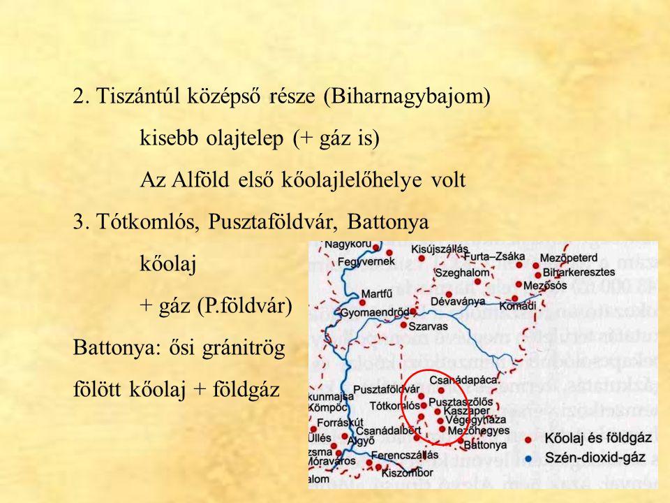 16 2. Tiszántúl középső része (Biharnagybajom) kisebb olajtelep (+ gáz is) Az Alföld első kőolajlelőhelye volt 3. Tótkomlós, Pusztaföldvár, Battonya k