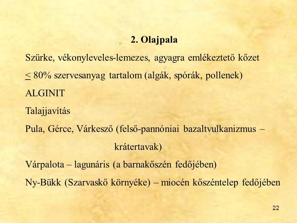 22 2. Olajpala Szürke, vékonyleveles-lemezes, agyagra emlékeztető kőzet < 80% szervesanyag tartalom (algák, spórák, pollenek) ALGINIT Talajjavítás Pul