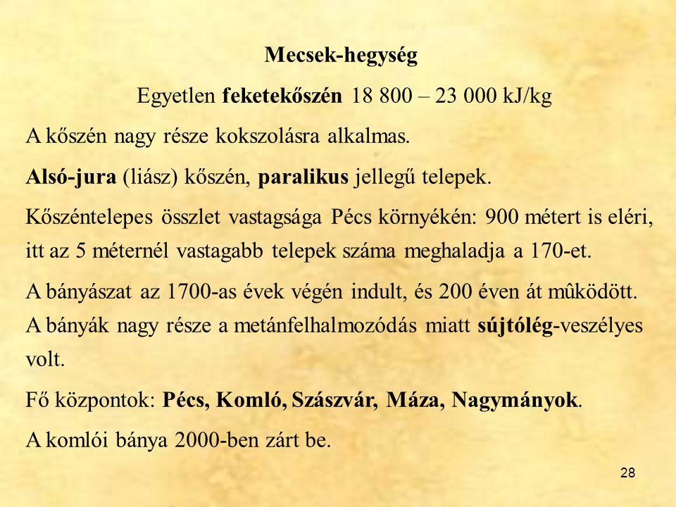 28 Mecsek-hegység Egyetlen feketekőszén 18 800 – 23 000 kJ/kg A kőszén nagy része kokszolásra alkalmas. Alsó-jura (liász) kőszén, paralikus jellegű te