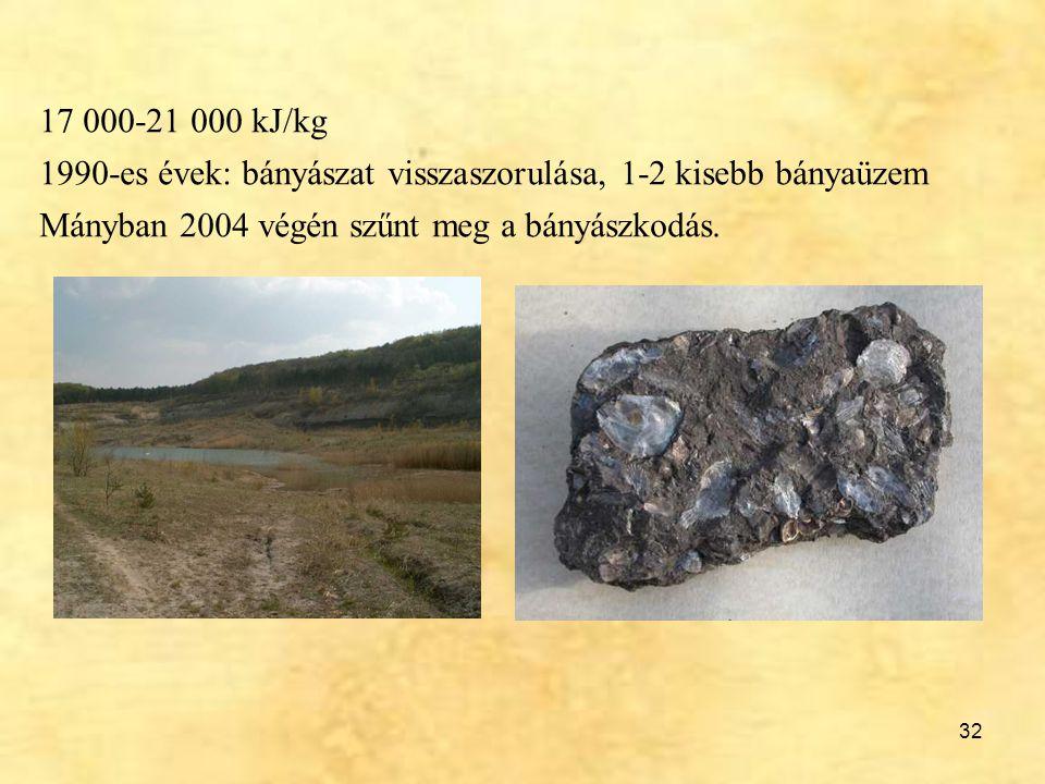 32 17 000-21 000 kJ/kg 1990-es évek: bányászat visszaszorulása, 1-2 kisebb bányaüzem Mányban 2004 végén szűnt meg a bányászkodás.