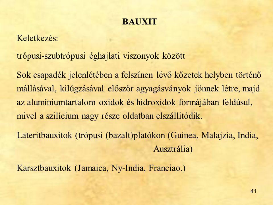 41 BAUXIT Keletkezés: trópusi-szubtrópusi éghajlati viszonyok között Sok csapadék jelenlétében a felszínen lévő kőzetek helyben történő mállásával, ki