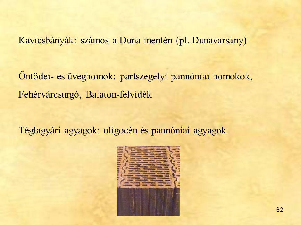 62 Kavicsbányák: számos a Duna mentén (pl. Dunavarsány) Öntödei- és üveghomok: partszegélyi pannóniai homokok, Fehérvárcsurgó, Balaton-felvidék Téglag