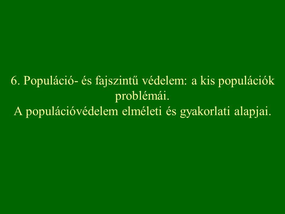 6. Populáció- és fajszintű védelem: a kis populációk problémái. A populációvédelem elméleti és gyakorlati alapjai.