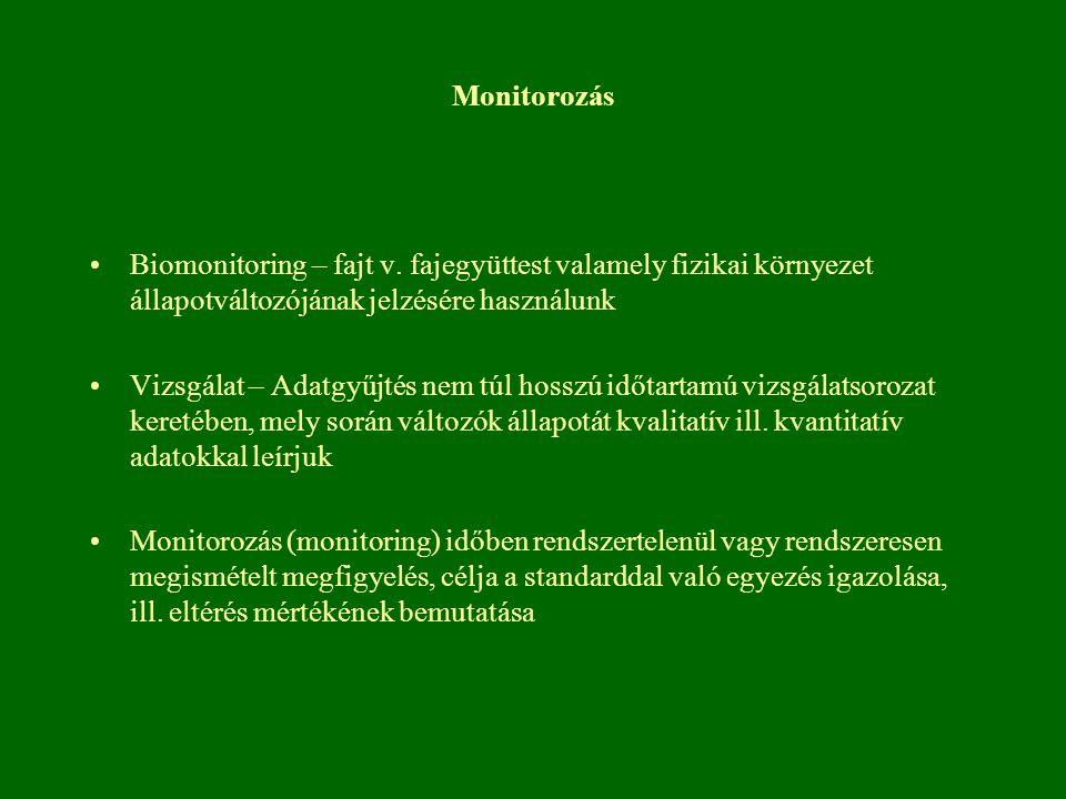 Monitorozás Biomonitoring – fajt v. fajegyüttest valamely fizikai környezet állapotváltozójának jelzésére használunk Vizsgálat – Adatgyűjtés nem túl h
