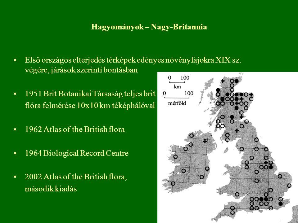 Hagyományok – Nagy-Britannia Első országos elterjedés térképek edényes növényfajokra XIX sz. végére, járások szerinti bontásban 1951 Brit Botanikai Tá