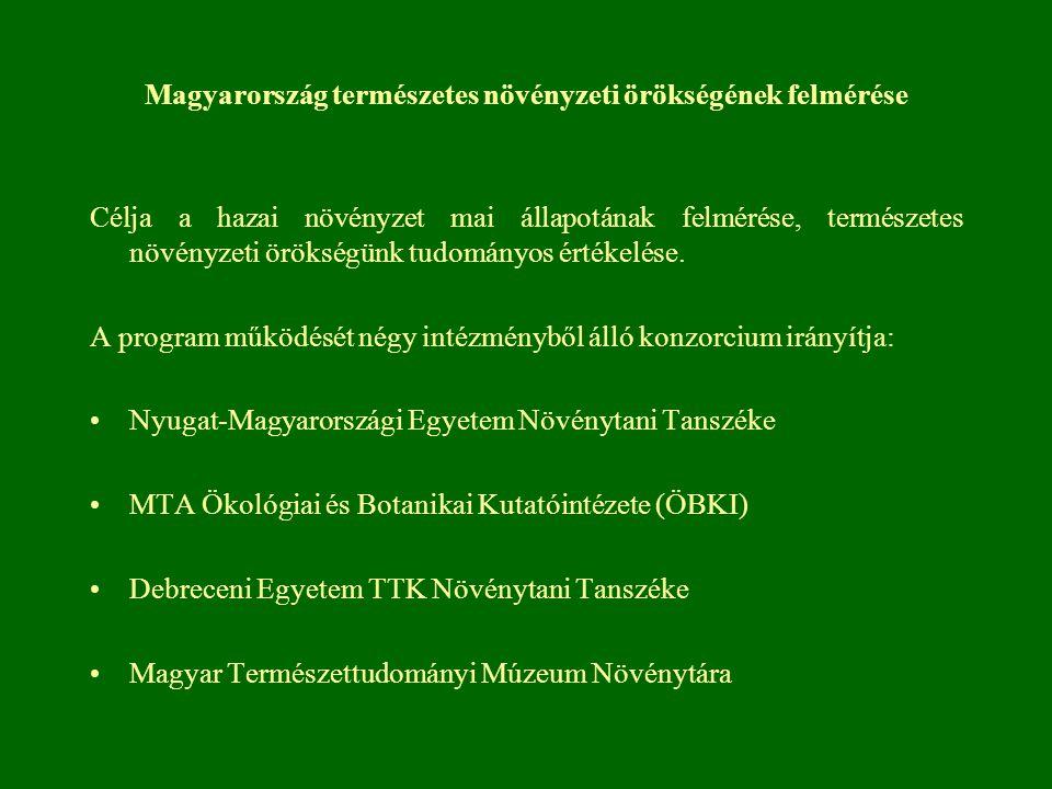 Magyarország természetes növényzeti örökségének felmérése Célja a hazai növényzet mai állapotának felmérése, természetes növényzeti örökségünk tudomán