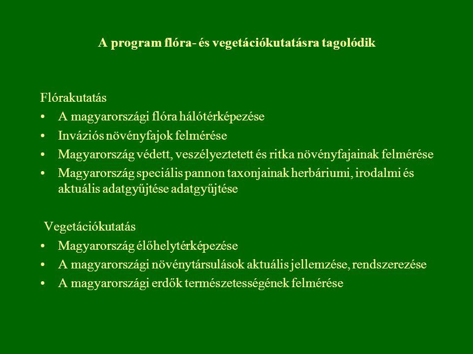 A program flóra- és vegetációkutatásra tagolódik Flórakutatás A magyarországi flóra hálótérképezése Inváziós növényfajok felmérése Magyarország védett