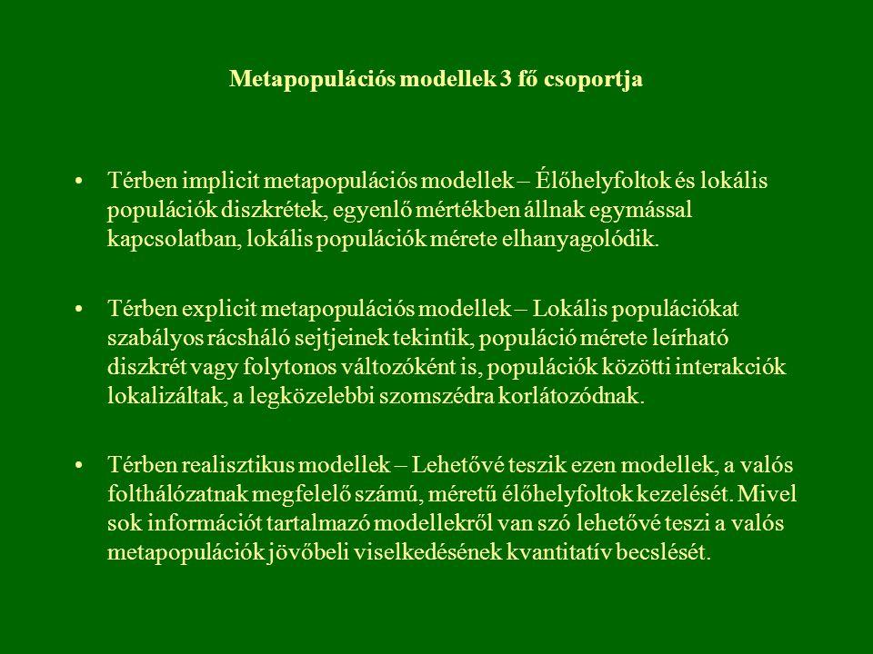 Metapopulációs modellek 3 fő csoportja Térben implicit metapopulációs modellek – Élőhelyfoltok és lokális populációk diszkrétek, egyenlő mértékben áll
