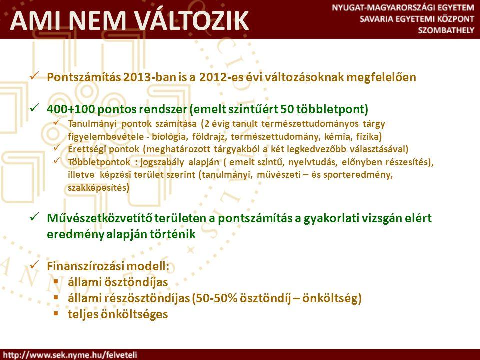 AMI NEM VÁLTOZIK Pontszámítás 2013-ban is a 2012-es évi változásoknak megfelelően 400+100 pontos rendszer (emelt szintűért 50 többletpont) Tanulmányi pontok számítása (2 évig tanult természettudományos tárgy figyelembevétele - biológia, földrajz, természettudomány, kémia, fizika) Érettségi pontok (meghatározott tárgyakból a két legkedvezőbb választásával) Többletpontok : jogszabály alapján ( emelt szintű, nyelvtudás, előnyben részesítés), illetve képzési terület szerint (tanulmányi, művészeti – és sporteredmény, szakképesítés) Művészetközvetítő területen a pontszámítás a gyakorlati vizsgán elért eredmény alapján történik Finanszírozási modell:  állami ösztöndíjas  állami részösztöndíjas (50-50% ösztöndíj – önköltség)  teljes önköltséges