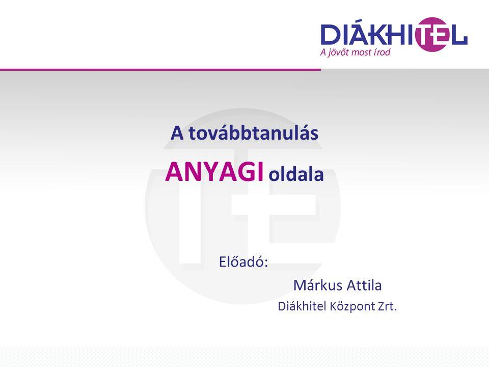 A továbbtanulás ANYAGI oldala Előadó: Márkus Attila Diákhitel Központ Zrt.