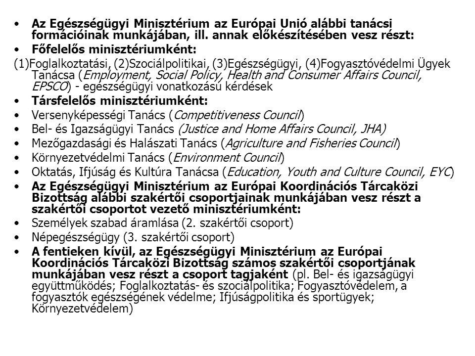 Az Egészségügyi Minisztérium az Európai Unió alábbi tanácsi formációinak munkájában, ill.