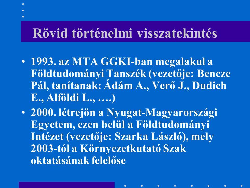 Rövid történelmi visszatekintés 1993. az MTA GGKI-ban megalakul a Földtudományi Tanszék (vezetője: Bencze Pál, tanítanak: Ádám A., Verő J., Dudich E.,
