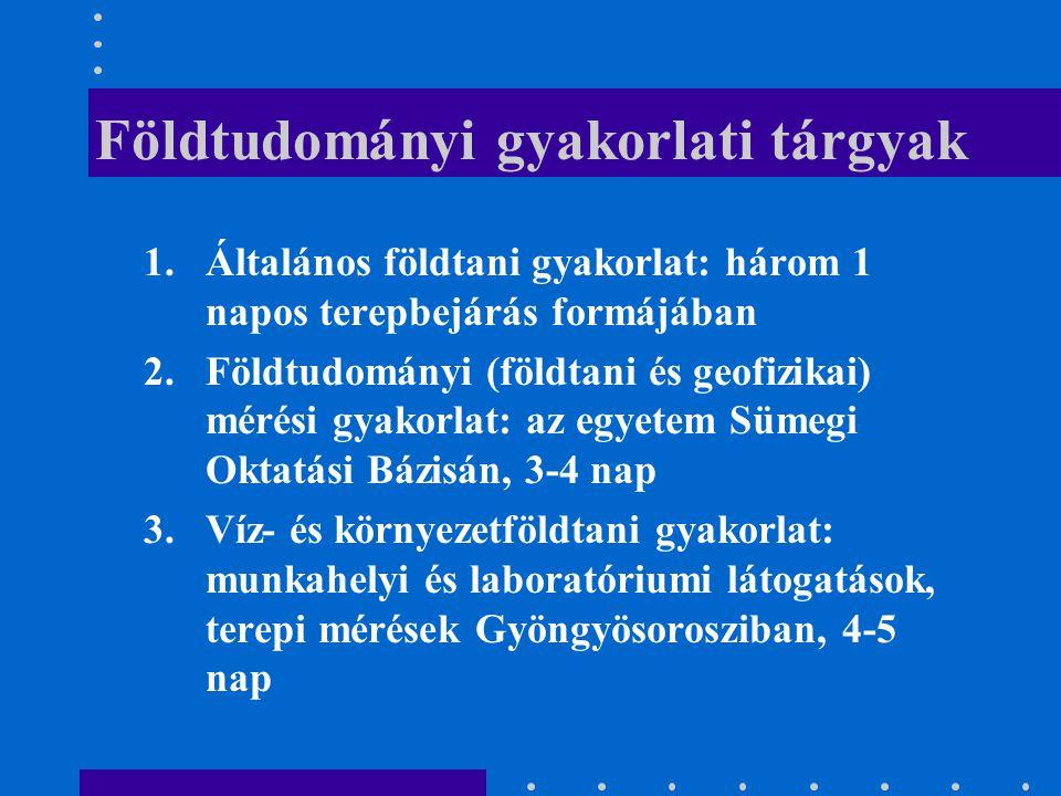 Földtudományi gyakorlati tárgyak 1.Általános földtani gyakorlat: három 1 napos terepbejárás formájában 2.Földtudományi (földtani és geofizikai) mérési
