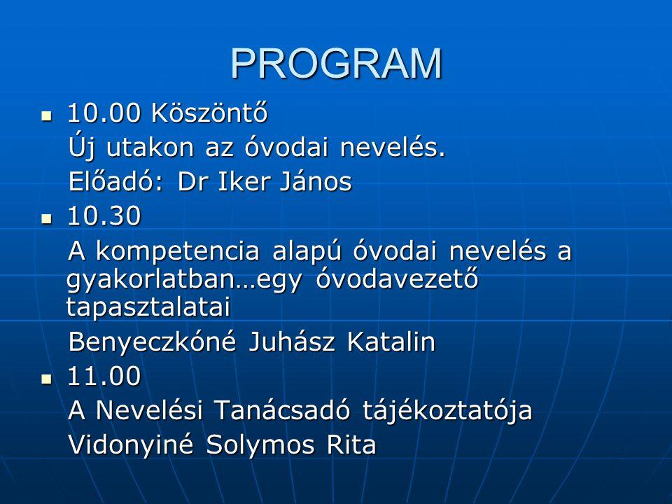PROGRAM 10.00 Köszöntő 10.00 Köszöntő Új utakon az óvodai nevelés.