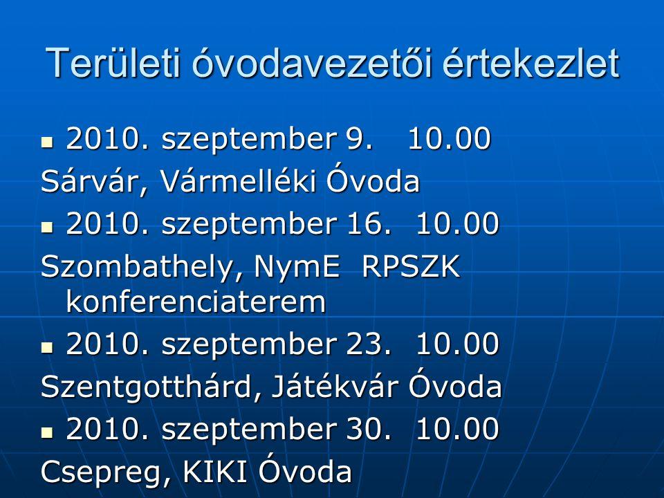 Területi óvodavezetői értekezlet 2010. szeptember 9.