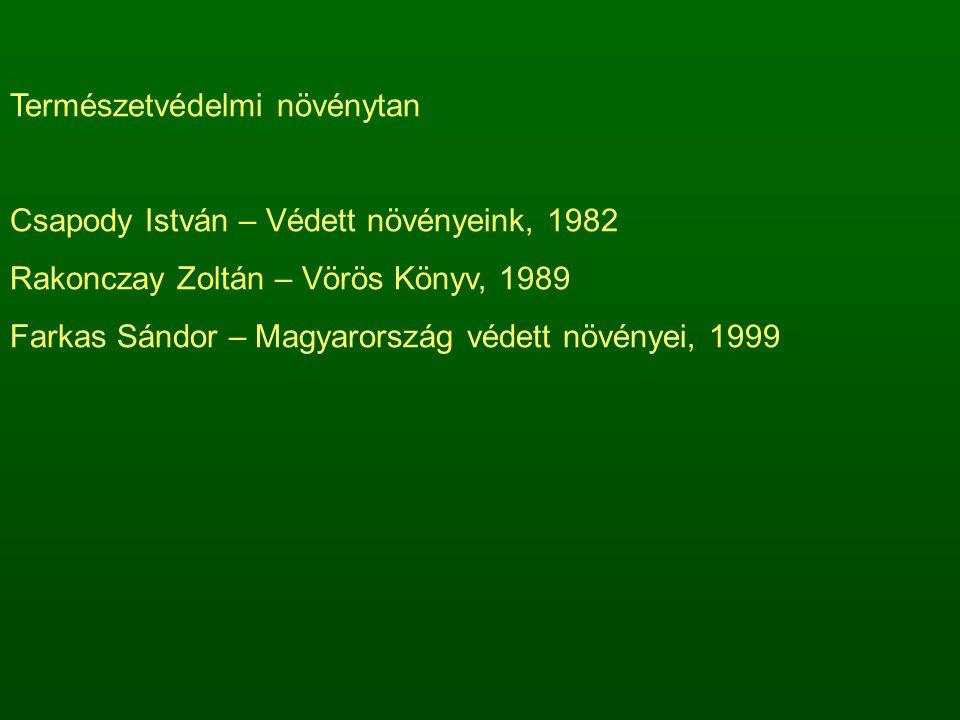 Természetvédelmi növénytan Csapody István – Védett növényeink, 1982 Rakonczay Zoltán – Vörös Könyv, 1989 Farkas Sándor – Magyarország védett növényei, 1999