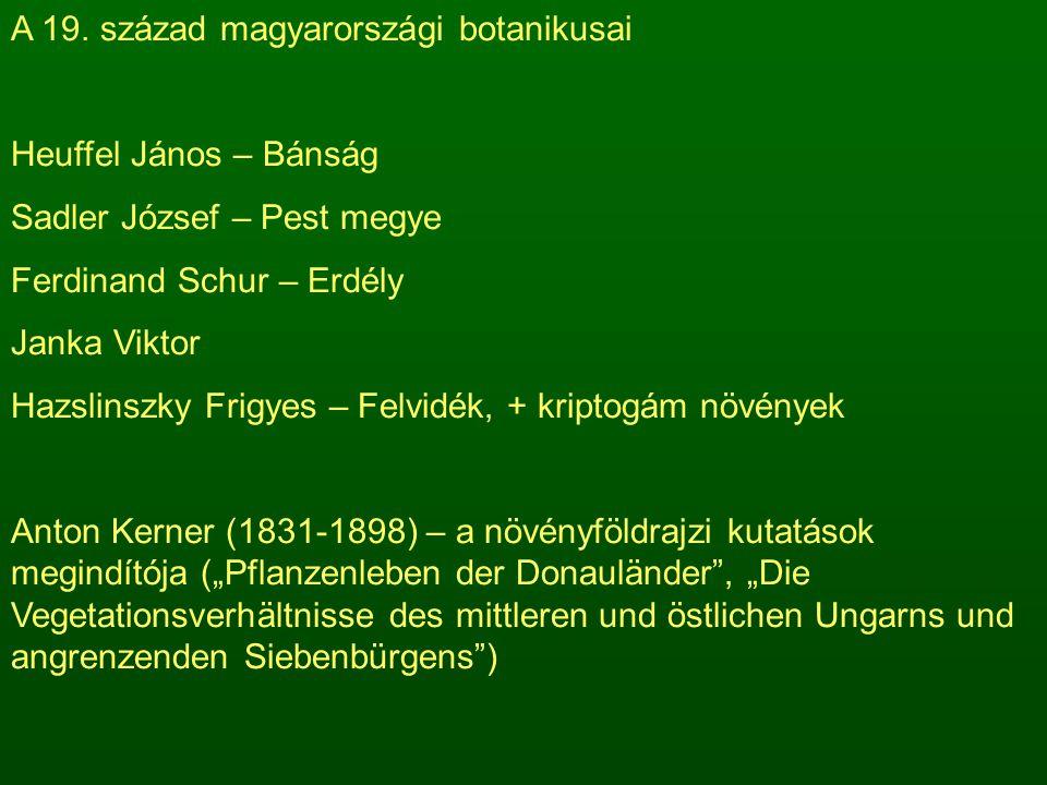A 19. század magyarországi botanikusai Heuffel János – Bánság Sadler József – Pest megye Ferdinand Schur – Erdély Janka Viktor Hazslinszky Frigyes – F