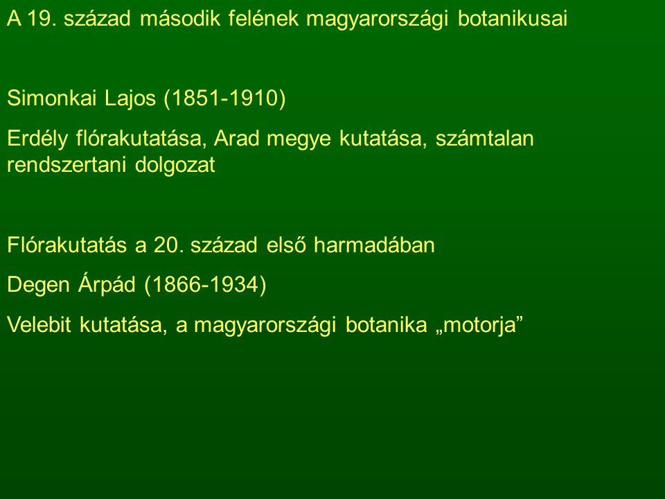 A 19. század második felének magyarországi botanikusai Simonkai Lajos (1851-1910) Erdély flórakutatása, Arad megye kutatása, számtalan rendszertani do