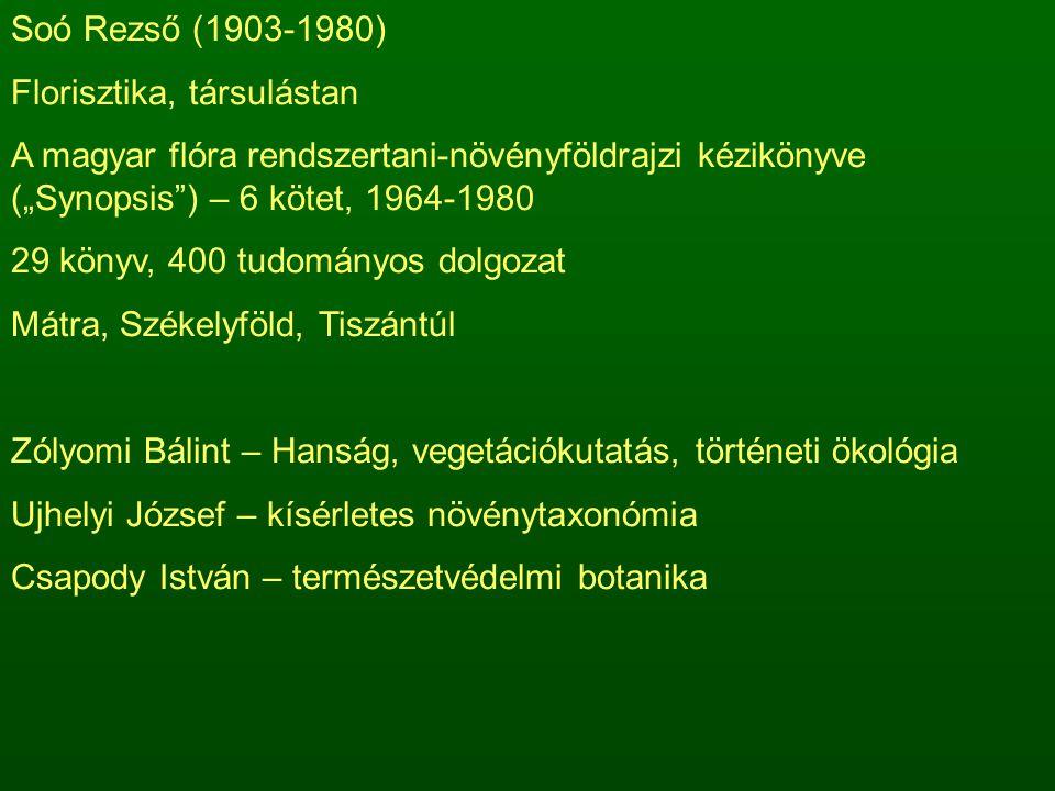 """Soó Rezső (1903-1980) Florisztika, társulástan A magyar flóra rendszertani-növényföldrajzi kézikönyve (""""Synopsis ) – 6 kötet, 1964-1980 29 könyv, 400 tudományos dolgozat Mátra, Székelyföld, Tiszántúl Zólyomi Bálint – Hanság, vegetációkutatás, történeti ökológia Ujhelyi József – kísérletes növénytaxonómia Csapody István – természetvédelmi botanika"""