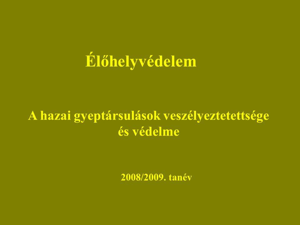 Élőhelyvédelem A hazai gyeptársulások veszélyeztetettsége és védelme 2008/2009. tanév