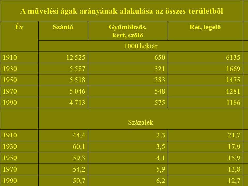 A művelési ágak arányának alakulása az összes területből ÉvSzántóGyümölcsös, kert, szőlő Rét, legelő 1000 hektár 191012 5256506135 19305 5873211669 19