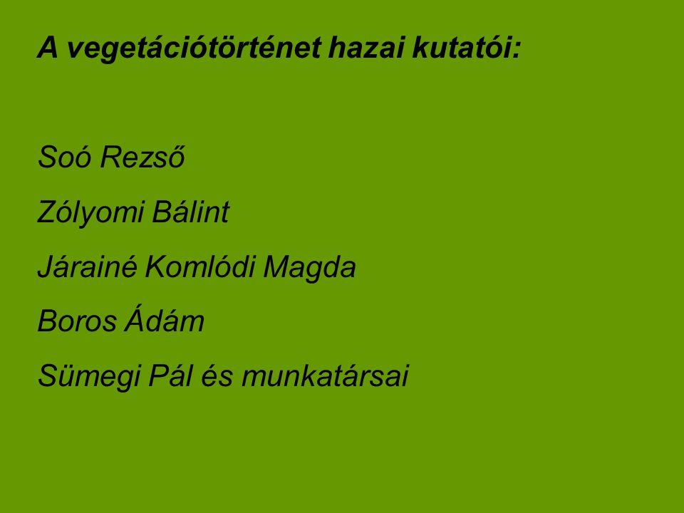A vegetációtörténet hazai kutatói: Soó Rezső Zólyomi Bálint Járainé Komlódi Magda Boros Ádám Sümegi Pál és munkatársai