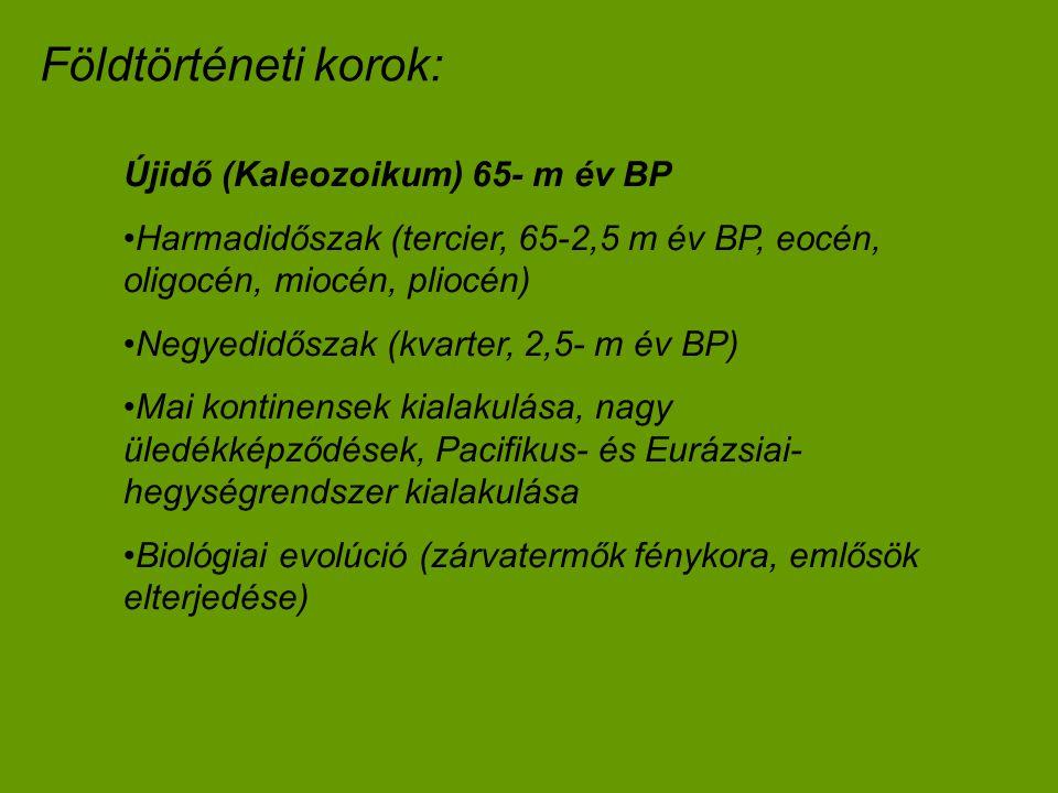 Földtörténeti korok: Újidő (Kaleozoikum) 65- m év BP Harmadidőszak (tercier, 65-2,5 m év BP, eocén, oligocén, miocén, pliocén) Negyedidőszak (kvarter,