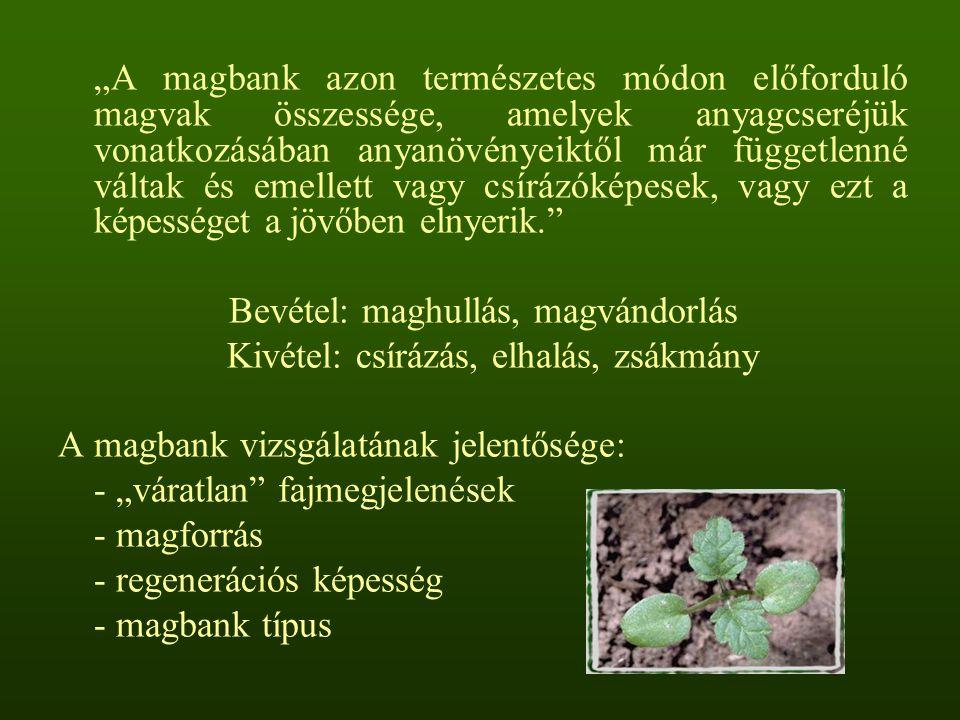 """""""A magbank azon természetes módon előforduló magvak összessége, amelyek anyagcseréjük vonatkozásában anyanövényeiktől már függetlenné váltak és emelle"""
