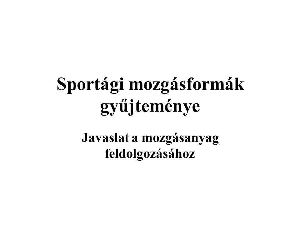 Az alapvető mozgások, mozgásformák Sportág 1.Középiskola 14-18 év 6.