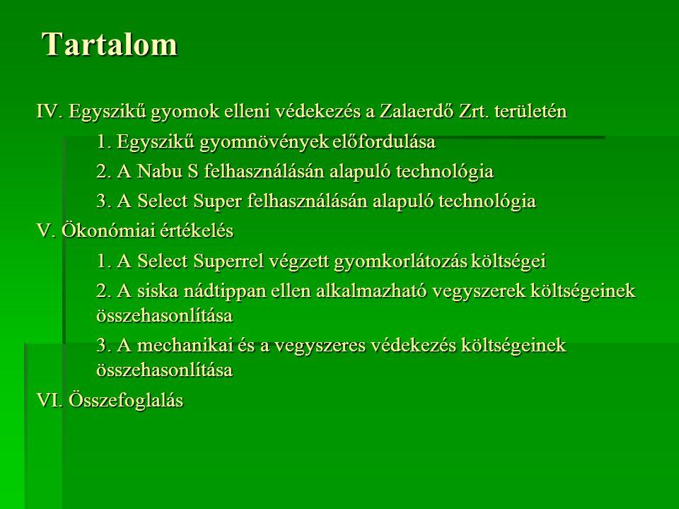 Tartalom IV.Egyszikű gyomok elleni védekezés a Zalaerdő Zrt.