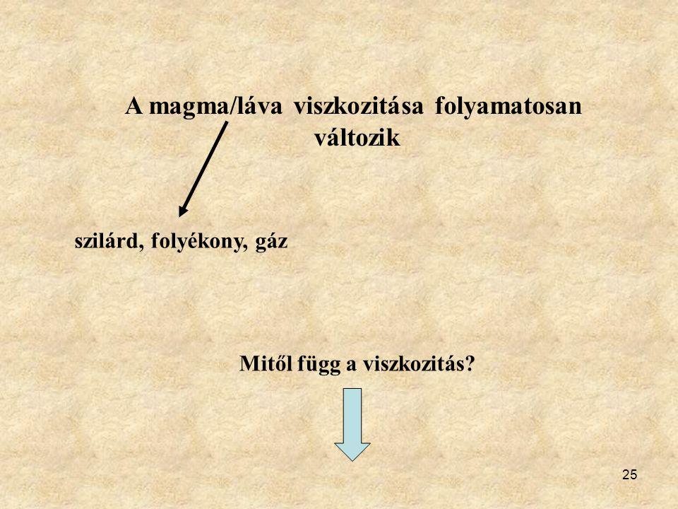 25 A magma/láva viszkozitása folyamatosan változik szilárd, folyékony, gáz Mitől függ a viszkozitás?