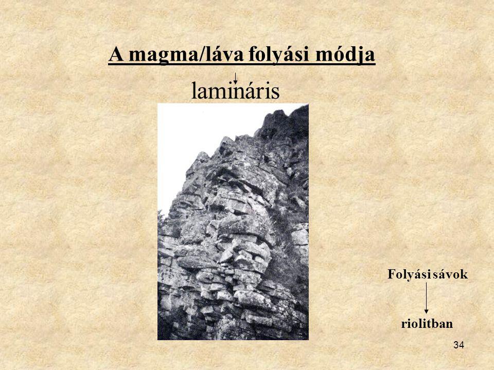 34 A magma/láva folyási módja lamináris Folyási sávok riolitban