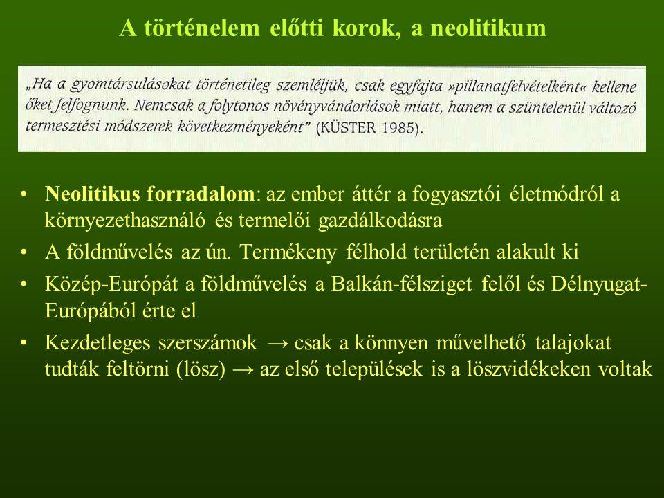 """Középkor Többféle ± eltérő termesztési rendszer alakult ki Legmeghatározóbb: """"örök rozsföldek és a nyomásos rendszerek Örök rozsföldek: –Északnyugat-Európa soványhomoktalajain –Pihentetés nélküli rozstermesztés, gyeptéglás trágyázás –Sajátos fajkészletű rejtőke-báránysaláta társulás Háromnyomásos gazdálkodás: Magyarországra is jellemző volt A szántóföld bizonyos részét nem vetették be –Bevetetlen területet nem szántották fel: parlagrendszer (parlag) –Bevetetlen területet felszántották: nyomásrendszer (ugar)"""