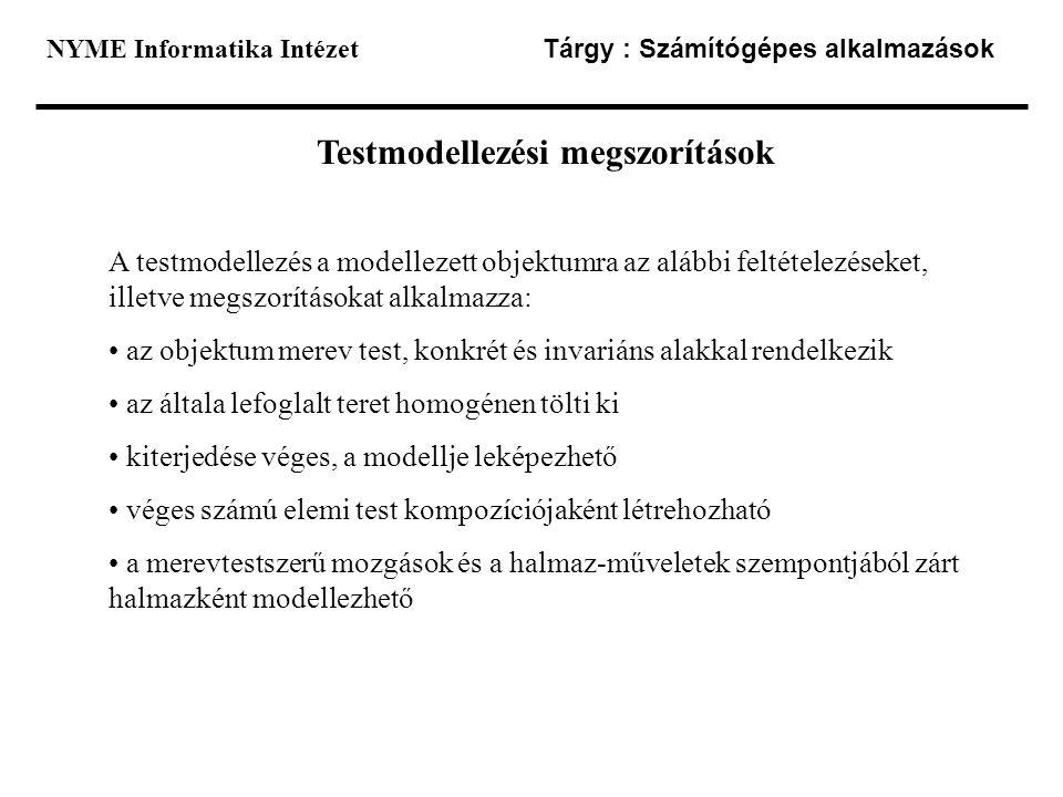 NYME Informatika Intézet Tárgy : Számítógépes alkalmazások Testmodellezési megszorítások A testmodellezés a modellezett objektumra az alábbi feltétele