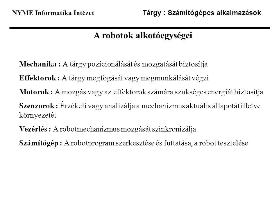 NYME Informatika Intézet Tárgy : Számítógépes alkalmazások A robotok alkotóegységei Mechanika : A tárgy pozícionálását és mozgatását biztosítja Effekt