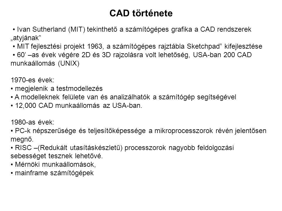 """CAD története Ivan Sutherland (MIT) tekinthető a számítógépes grafika a CAD rendszerek """"atyjának"""" MIT fejlesztési projekt 1963, a számítógépes rajztáb"""
