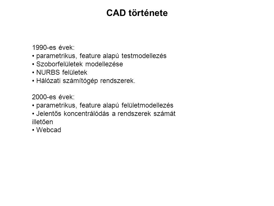 1990-es évek: parametrikus, feature alapú testmodellezés Szoborfelületek modellezése NURBS felületek Hálózati számítógép rendszerek. 2000-es évek: par