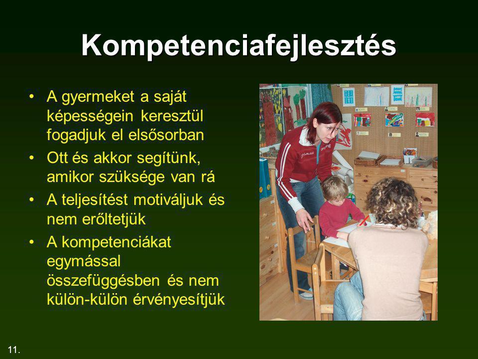 11. Kompetenciafejlesztés A gyermeket a saját képességein keresztül fogadjuk el elsősorban Ott és akkor segítünk, amikor szüksége van rá A teljesítést
